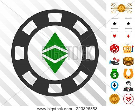 Ethereum Casino Chip pictograph with bonus casino pictographs. Vector illustration style is flat iconic symbols. Designed for gambling gui.