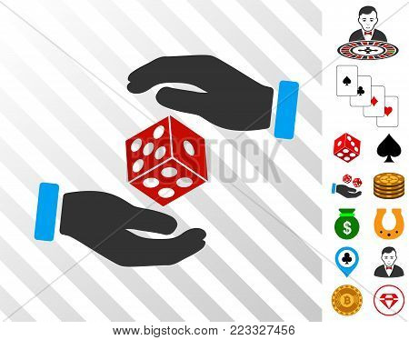 Hands Throw Dice pictograph with bonus gamble graphic icons. Vector illustration style is flat iconic symbols. Designed for gamble software.