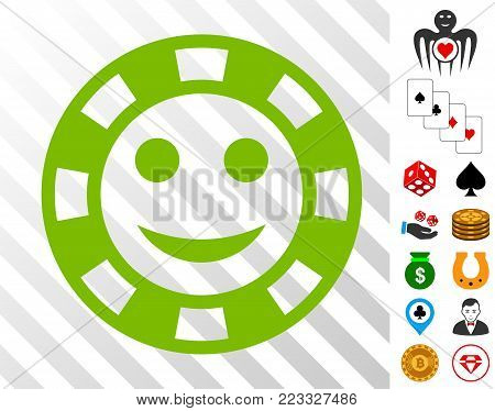 Happy Casino Chip pictograph with bonus gamble images. Vector illustration style is flat iconic symbols. Designed for gamble websites.