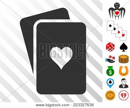 Hearts Playing Cards icon with bonus gamble pictograms. Vector illustration style is flat iconic symbols. Designed for gamble software.