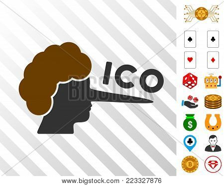 Ico Lier icon with bonus gambling graphic icons. Vector illustration style is flat iconic symbols. Designed for gamble websites.