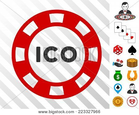 Ico Token pictograph with bonus gamble graphic icons. Vector illustration style is flat iconic symbols. Designed for gambling software.