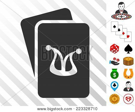Joker Gambling Cards icon with bonus gambling pictures. Vector illustration style is flat iconic symbols. Designed for casino websites.