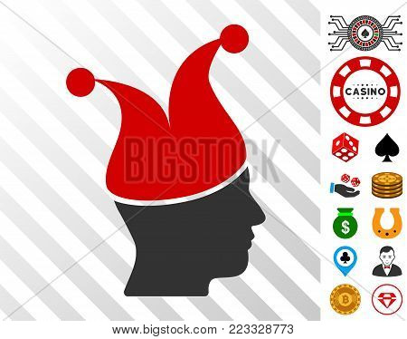 Joker Guy pictograph with bonus gamble icons. Vector illustration style is flat iconic symbols. Designed for casino ui. poster
