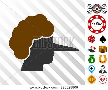 Lier icon with bonus casino pictograms. Vector illustration style is flat iconic symbols. Designed for gamble websites.