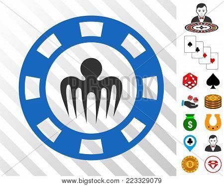 Monster Casino Chip icon with bonus gambling clip art. Vector illustration style is flat iconic symbols. Designed for gambling ui.