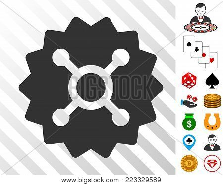 Roulette Token icon with bonus gambling design elements. Vector illustration style is flat iconic symbols. Designed for gamble websites.
