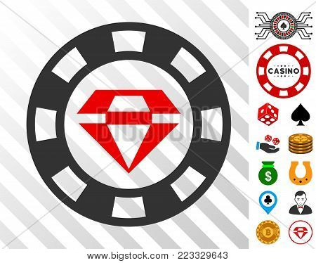 Ruby Casino Chip pictograph with bonus gambling pictures. Vector illustration style is flat iconic symbols. Designed for gambling websites.