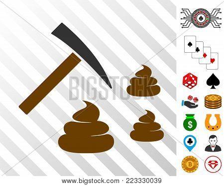 Shit Mining icon with bonus gamble symbols. Vector illustration style is flat iconic symbols. Designed for gambling websites.