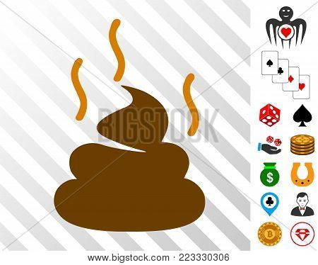 Shit Smell icon with bonus gamble pictographs. Vector illustration style is flat iconic symbols. Designed for gamble apps.
