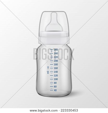 Realistic vector illustration - Water in baby bottle with scale of measurement icon closeup isolated on white background. Sterile empty milk container design template, mockup for graphics.
