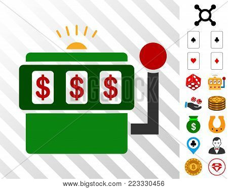 Slot Machine pictograph with bonus gamble graphic icons. Vector illustration style is flat iconic symbols. Designed for gambling ui.