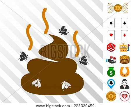 Smell Bullshit pictograph with bonus gambling pictograms. Vector illustration style is flat iconic symbols. Designed for gamble ui.