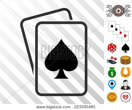 Spade Gambling Cards pictograph with bonus gambling images. Vector illustration style is flat iconic symbols. Designed for casino apps.
