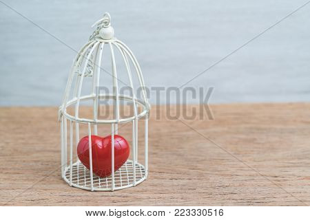Red heart inside the miniature birdcage, love/ romance or anchoring in the pasat concept.