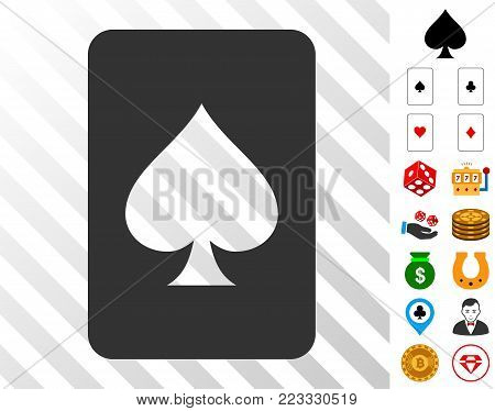 Spades Gambling Card icon with bonus gambling pictures. Vector illustration style is flat iconic symbols. Designed for gamble gui.