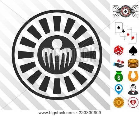 Spectre Casino Roulette icon with bonus gamble pictures. Vector illustration style is flat iconic symbols. Designed for gambling websites.