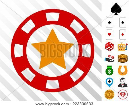 Star Casino Chip icon with bonus gambling pictograms. Vector illustration style is flat iconic symbols. Designed for gambling software.