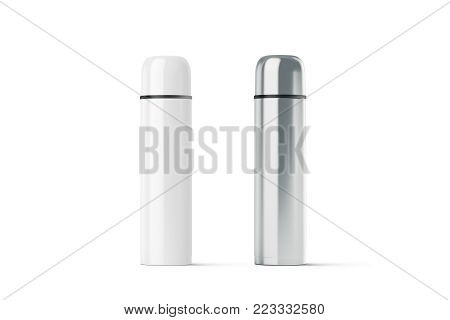Blank white and steel closed travel thermos mockup, 3d rendering. Empty traveler bottle mock up isolated. Clear stainless drink container template. Plain thermo mug for tea or coffee.