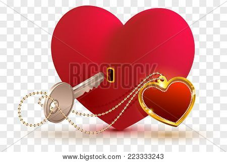 Love is key to heart of your beloved. Red heart shape lock and key. Isolated on transparent background vector illustration