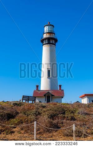 Pigeon Point Lighthouse On The Pacific Coast Highway, California Coastline