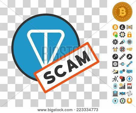 Ton Scam Label icon with bonus bitcoin mining and blockchain symbols. Vector illustration style is flat iconic symbols. Designed for cryptocurrency apps.