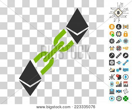 Ethereum Blockchain pictograph with bonus bitcoin mining and blockchain symbols. Vector illustration style is flat iconic symbols. Designed for crypto-currency websites.