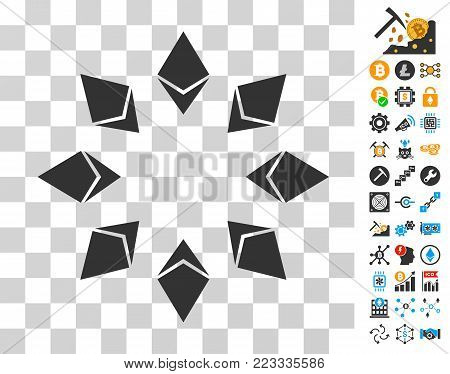 Ethereum Radial pictograph with bonus bitcoin mining and blockchain pictographs. Vector illustration style is flat iconic symbols. Designed for cryptocurrency software.