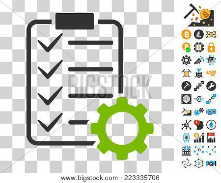 Smart Contract Gear icon with bonus bitcoin mining and blockchain pictures. Vector illustration style is flat iconic symbols. Designed for crypto currency apps.