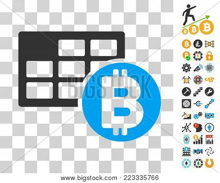 Bitcoin Table pictograph with bonus bitcoin mining and blockchain pictographs. Vector illustration style is flat iconic symbols. Designed for crypto currency apps.