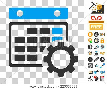 Calendar Configuration pictograph with bonus bitcoin mining and blockchain design elements. Vector illustration style is flat iconic symbols. Designed for crypto currency apps.