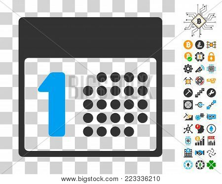 First Day pictograph with bonus bitcoin mining and blockchain pictographs. Vector illustration style is flat iconic symbols. Designed for crypto-currency software.