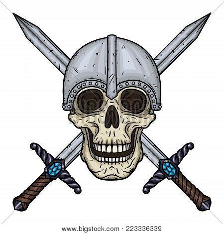 Skull with crossed swords and helmet. Cartoon skull. Vectorhand draw illustration