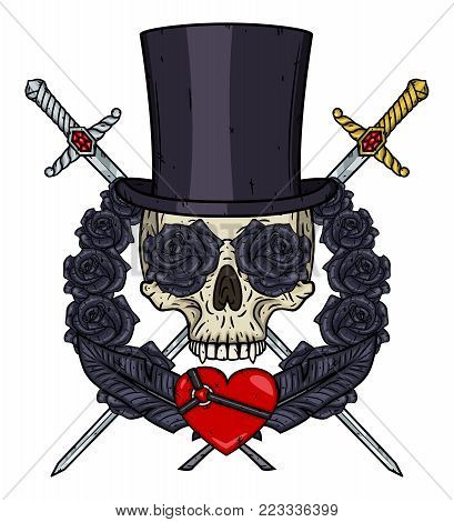 Cartoon Vampire Skull in cylinder hat, with a crossed swords, heart and roses