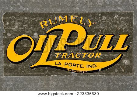 DALTON, , MINNESOTA, September 9, 2017: The logo on a steam engine represents the Rumely Oil Pull, a line of farm tractors developed by Advance-Rumely Company from 1910 to 1930 in La Porte, Indiana.