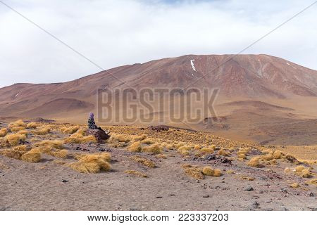 An uphill view of the volcano in National Park of Bolivian Altiplano, Uyuni Stock photo