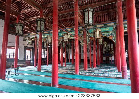 April 2015 - Jinan, China - Qingzhen Si mosque is a Praying location for the local muslim community and it features unique chinese decorations in it's interiors