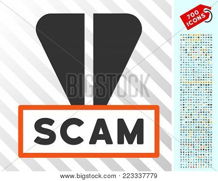 Ton Scam pictograph with 7 hundred bonus bitcoin mining and blockchain pictures. Vector illustration style is flat iconic symbols designed for cryptocurrency websites.