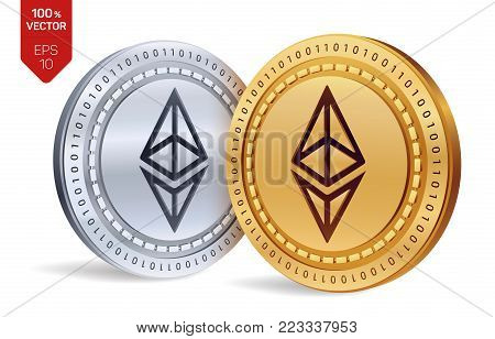 Ethereum. 3D isometric Physical coins. Digital currency. Cryptocurrency. Golden and silver coins with ethereum symbol isolated on white background. Vector illustration