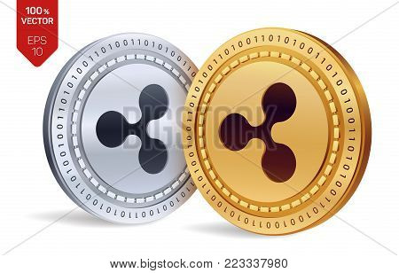 Ripple. 3D isometric Physical coins. Digital currency. Cryptocurrency. Golden and silver coins with ripple symbol isolated on white background. Vector illustration