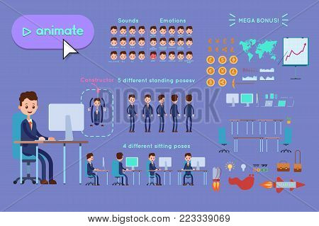 Character constructor for animating. Businessman in blue suit sitting at desk by computer on violet background. Animation of speech, emotions, turns, standing, sitting. Objects for animation