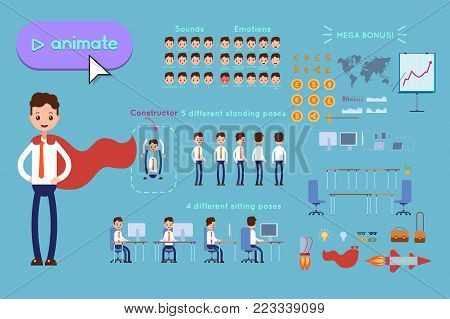 Character constructor for animating. Businessman in blue shirt wearing a superhero cloak on blue background. Animation of speech, emotions, turns, standing, sitting. Objects for animation