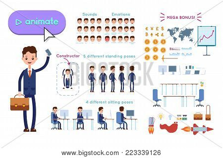 Character constructor for animating. Businessman in blue suit holding phone and leather briefcase on white background. Animation of speech, emotions, turns, standing, sitting. Objects for animation