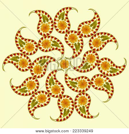 Mandala from dried pressed flowers, petals, leaves. Mandala is symbol of meditation, Buddhism, Hinduism, yoga. Paisley ornament mandala drawing made by plants on colored background in oriental style