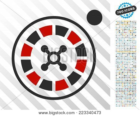 Roulette pictograph with 7 hundred bonus bitcoin mining and blockchain pictographs. Vector illustration style is flat iconic symbols designed for bitcoin software.