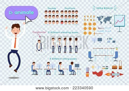 Character constructor for animating. Businessman in blue shirt jumps for joy on transparent background. Animation of speech, emotions, turns, standing, sitting. Objects for animation