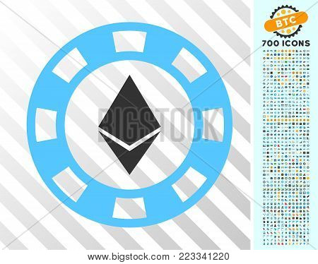 Ethereum Casino Chip pictograph with 7 hundred bonus bitcoin mining and blockchain pictographs. Vector illustration style is flat iconic symbols designed for cryptocurrency apps.