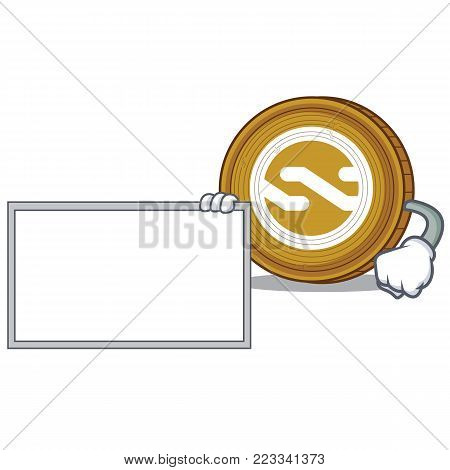 With bring Nxt coin character cartoon vector illustration