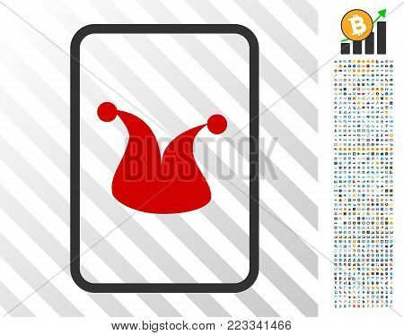 Joker Gambling Card icon with 700 bonus bitcoin mining and blockchain icons. Vector illustration style is flat iconic symbols designed for bitcoin websites. poster