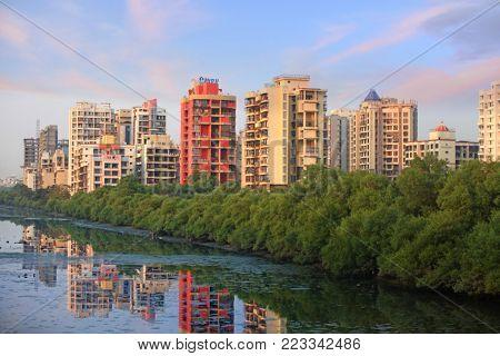 Navi Mumbai, India - December 6 : Navi Mumbai is planned suburb built across sea on main land to reduce Mumbai congestion on December 6 2015, Mumbai, India.